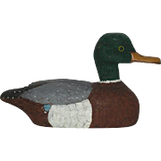 Signed, Harry Clements, Hand Carved, Wooden Mallard Duck Decoy
