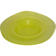 Hand Blown, Bright Yellow Art Glass Bowl