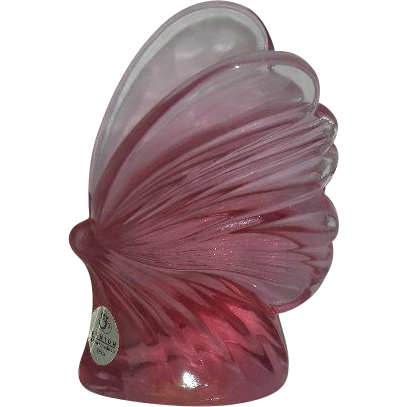 Fenton, Large, Pink Butterfly Paperweight