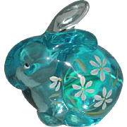 Small, Fenton, Hand Painted, Light Blue Rabbit Figurine