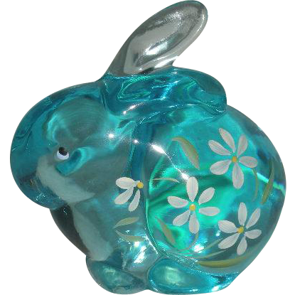 Small, Fenton, Hand Painted, Light Blue Rabbit Figurine