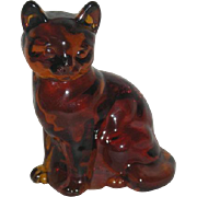 Fenton, Honey Amber, Cat Figurine