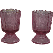 Pair, Fenton, Dusty Rose, Paneled Dandelion Candle Holders