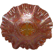 Fenton, Dark Marigold, Dragon & Lotus Carnival Glass Bowl