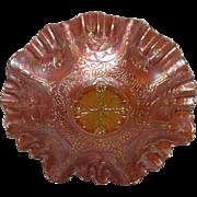 Fenton, Dark Marigold, Dragon & Lotus Carnival Glass Bowl