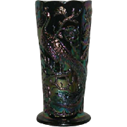 Fenton, Purple, Peacock Garden, Carnival Glass Vase