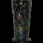 Fenton, Purple, Peacock Garden, Carnival Glass Vase
