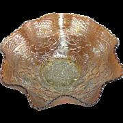 "Fenton, Aqua, Two Flowers, 10 1/2"" Scroll Footed Carnival Glass Bowl"