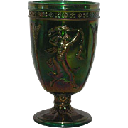 Fenton, Green, Dancing Ladies, Carnival Glass Urn Vase