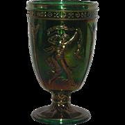 Fenton, Green, Dancing Ladies, Carnival Glass Urn Vase