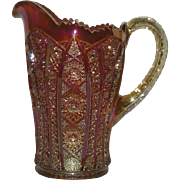 "Imperial, Marigold, 8"" Octagon, Carnival Glass Water Pitcher"
