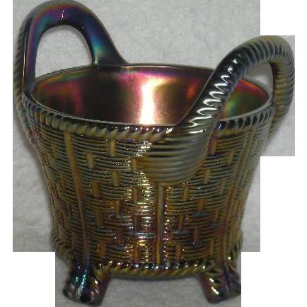 Northwood, Cobalt Blue, Carnival Glass Bushel Basket