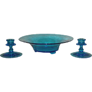 Fostoria, Sapphire Blue, 3 Pc. Console Set