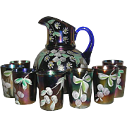 Fenton, 9 Pc., Cobalt Blue Enameled Cherries Carnival Glass Water Set