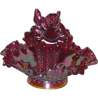 Fenton, Red, Hobnail, Carnival Glass 3 Lily Epergne