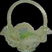 Fenton, Vaseline Opalescent, Hand Painted, Drapery Pattern Carnival Glass Basket