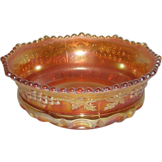 Northwood, Marigold, Grape & Cable W/Thumbprint, Carnival Glass Berry Bowl