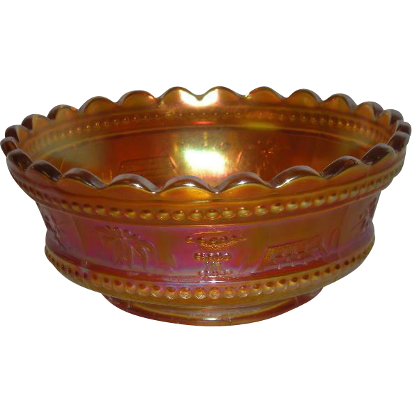 Northwood, Pumpkin Marigold, Peacock at the Fountain, Small Carnival Glass Berry Bowl