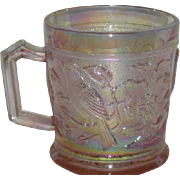 Imperial, Pink, Robin, Carnival Glass Mug
