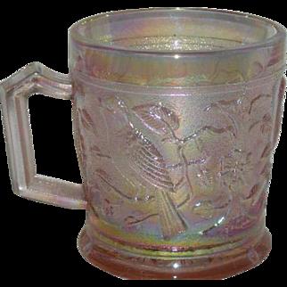 Imperial, Pink, Robin, Carnival Glass Mug