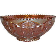 Imperial, Marigold, Star & File Carnival Glass Nut Bowl
