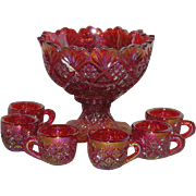 Westmoreland, Red/Amberina, Diamond & Fan, 7 Pc., Carnival Glass Child's Punch Bowl Set