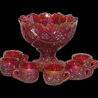 Westmoreland, Red/Amberina, Diamond & Fan, 7 Pc., Carnival Glass Child's Punch Bowl Set