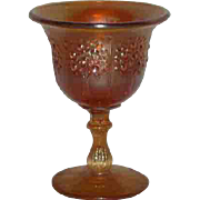 Fenton, Small, Marigold, Orange Tree Carnival Glass Compote