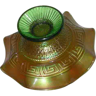 Northwood, Green, Greek Key & Scales, Dome Based Carnival Glass Bowl
