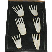 Set of Six, Carved Bone, Native American Combs