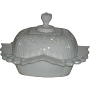 1891, U.S. Glass Co., Bryce Fashion, Milk Glass Butter Dish