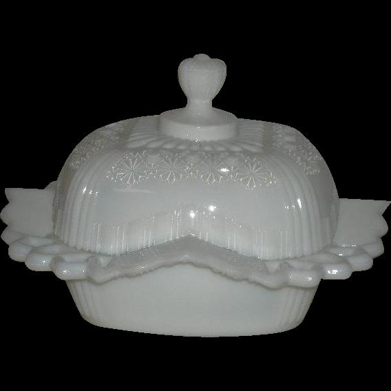 1891, U.S. Glass Co., Bryce Fashion, Milk Glass Butter Dish