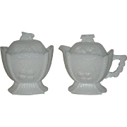 Westmoreland, Grape & Cherry, Milk Glass Covered Sugar & Creamer Set