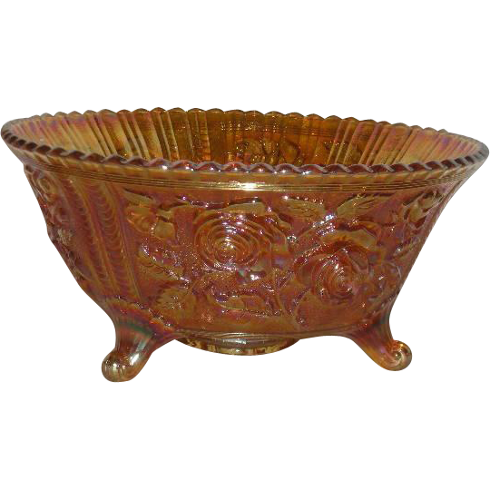 Imperial, Lustre Rose, Footed Carnival Glass Fruit/Center Bowl