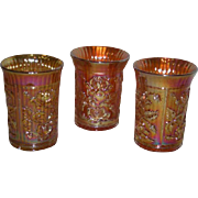 Three, Imperial, Lustre Rose Marigold Carnival Glass Tumblers
