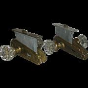 Pair, Glass Door Knobs, W/Locks & Brass, Deco Door Plates