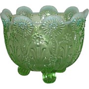 Northwood, Green Opalescent, Pearl Flowers Nut Bowl