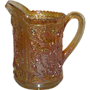 Imperial, Marigold, Lustre Rose Carnival Glass Water Pitcher
