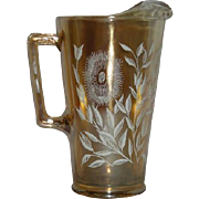 Jeanette, Marigold, Stylized Sunflower, Carnival Glass Water Pitcher