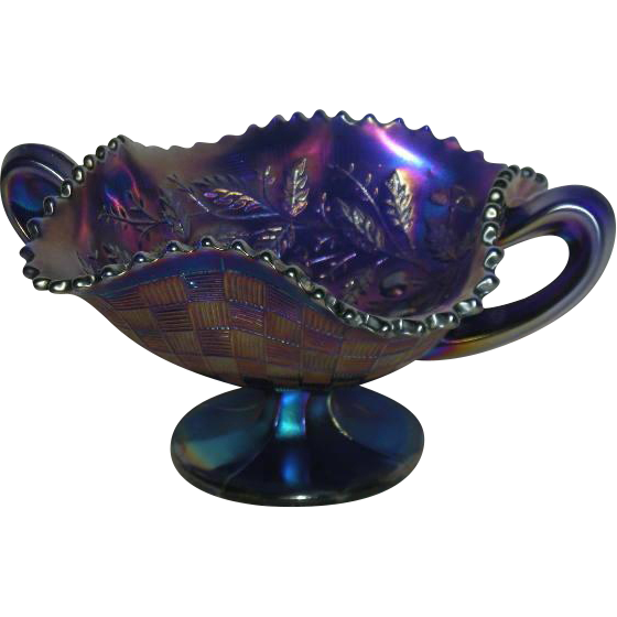 Northwood, Electric Blue, Fruits & Flowers Carnival Glass Bon Bon