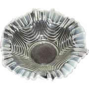 White Opalescent Drapery Bowl