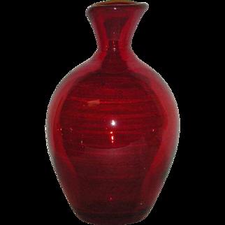 Red, Blenko Art Glass Bottle/Vase