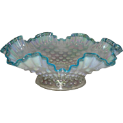 Fenton. Iridescent, French Opalescent Hobnail, Aqua Crested Epergne Base