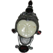 Art Deco, Moon Faced, Sterling, Bone, & Tanzanite Pendant