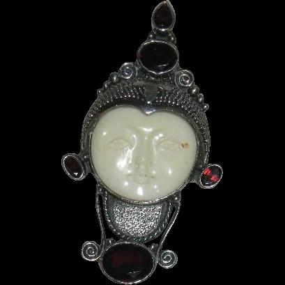 Art Deco, Moon Faced, Sterling, Bone, & Tanzanite Pendant