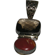 Large, Silver, Smokey Quartz & Red Stone Pendant
