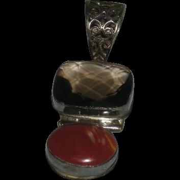 Large, Silver, Smokey Quartz & Red Stone Pendant