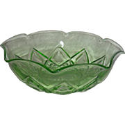 Green, Hazel Atlas, Diamond Arches Bowl