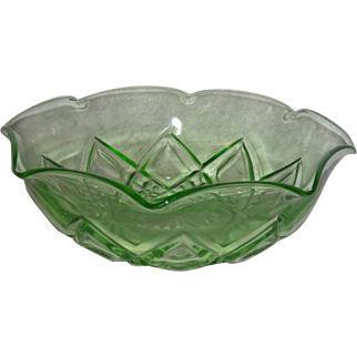 Green, Hazel Atlas, Diamond Arches Bowl