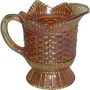 Westmoreland, Marigold, Basketweave & Cable Carnival Glass Creamer